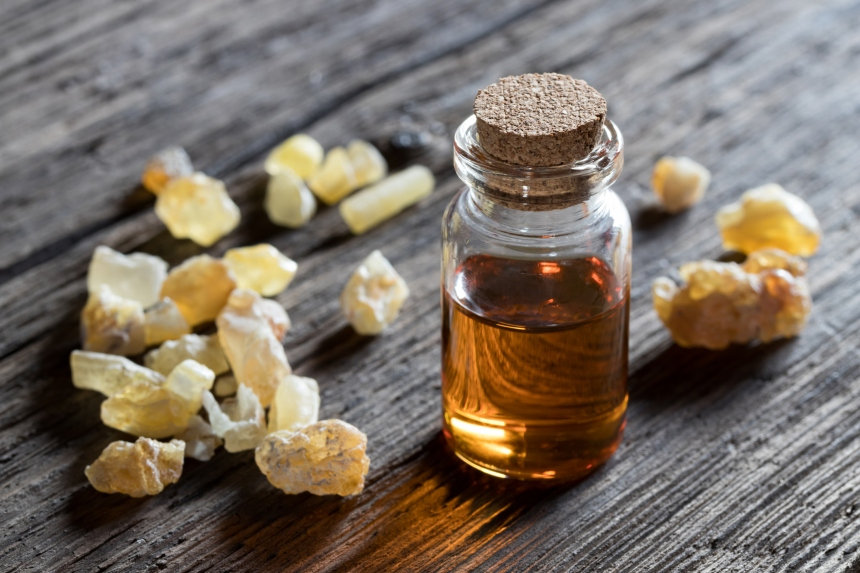 A bottle of frankincense essential oil